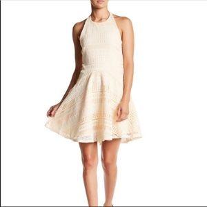 NWT The Vanity Room Halter Geo Lace Dress